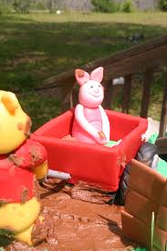 muddy pooh winnie the pooh and piglet baby shower cake