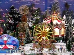 christmas lights and mini town in hyatt regency san francisco
