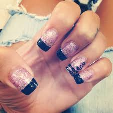 purple sparkle nails with black french tip with cheetah print on