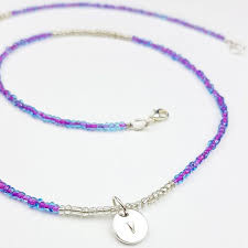silver charm bead necklace images Blue purple bead necklace with silver charm vegan jewelry jpg