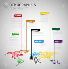 Map With Labels Demographics Infographic Report Template With Labels And World