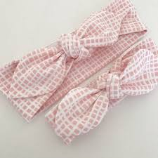 top knot headband blush grid print top knot headband cheeky fox