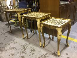 gold leaf coffee table italian gold leaf coffee table and nesting table set collectors weekly