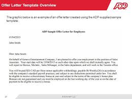 company offer letter template welcome to recruitment for adp workforce now ppt download