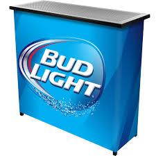 bud light bar light trademark gameroom bud light 2 shelf portable bar table w carrying