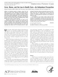 error blame and the law in health care u2014an antipodean perspective
