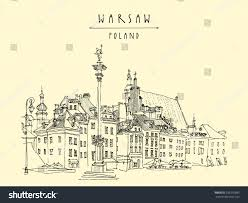 castle square old center warsaw poland stock vector 335295695