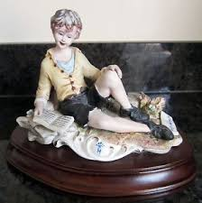 capodimonte figurine boy reading ornament signed made in italy 547