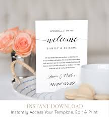wedding itinerary welcome bag letter template wedding welcome bag note printable