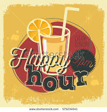 happy hour concept poster template advertising stock vector