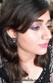 face of the day shimmery white lilac eye makeup with berry pink