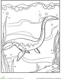 underwater dinosaurs coloring pages color the dinosaur elasmosaurus worksheet education com
