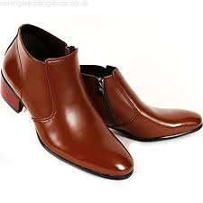 mens dress leather shoes formal casual brown ankle boots stylish