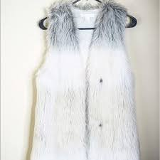 h u0026m white fur vest on poshmark
