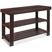 amazon com songmics entryway bamboo shoe bench 2 tier shoe rack