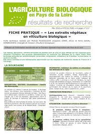 chambre r馮ionale d agriculture pays de la loire les extraits végétaux en viticulture biologique chambre d