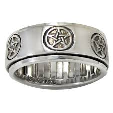 worry ring sterling silver pentagram pentacle spinner worry ring wiccan pagan