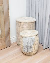 handwoven grass u0026 recycled plastic tall hamper fair trade white