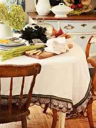sophisticated embellished fall tablecloth hgtv