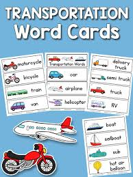 words cards transportation word cards prekinders