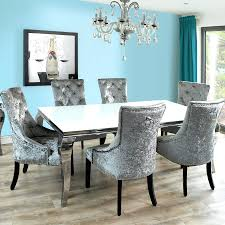 black dining table with velvet chairs silver room oak crushed set