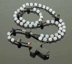 black agate necklace images Blue stone catholic rosary natural blue lace agate sardonyx jpeg