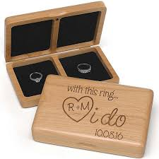his and hers wedding i do personalized hinged wood his hers wedding ring box