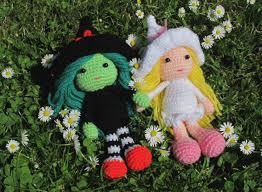 witches elphaba glinda wizard of oz crochet doll set