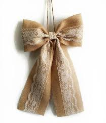 Wedding Pew Bows Pew Bows Burlap And Lace Bow Rustic Wedding Decor Burlap And
