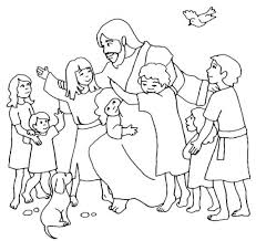 jesus and the little children clipart black and white logo more