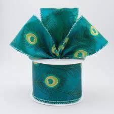 peacock ribbon 2 5 teal glittered peacock ribbon 10 yards rt16 212