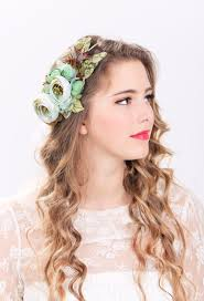 flower hair bridal flower hair crown woodland wedding sea foam flower