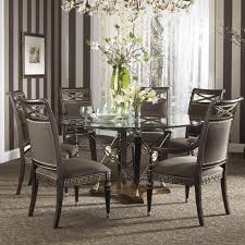 Dining Table Black Glass Glass Round Dining Table For 6