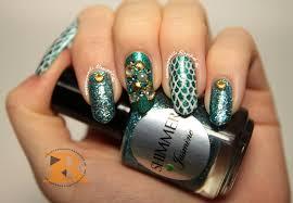 roaring nails mermaid nail art with shimmer polish jasmine