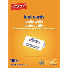 Blank Tent Card Template by Staples 14634 Cc Laser Inkjet Tent Cards Matte White 100 Pack