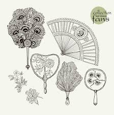 collection womens old fans vector illustration sketch on paper