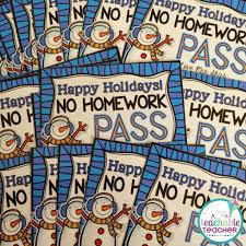 holiday homework pass freebie a teachable teacher