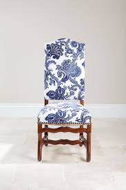 White Fabric Dining Chairs Side Chair With Blue And White Fabric Pinteres