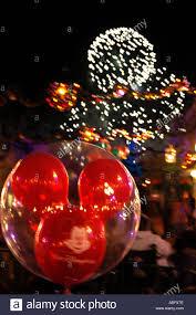 walt disney world mouse ears fireworks at holiday season stock
