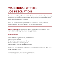 Warehouse Worker Job Description For Resume by Job Description Templates The Definitive Guide