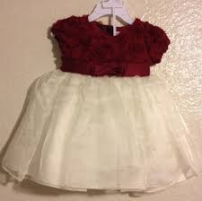 nannette baby christmas party dress 12 month maroon red cream