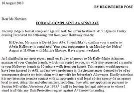 Formal Complaint Letter Against An Employee church and state formal complaint against a4e for unfair treatment
