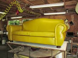 south coast upholstery a mustard yellow leather sofa