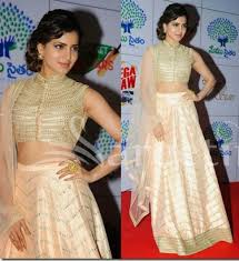 Buy Samantha Bollywood Replica Green Get Samantha Bridal Cream Designer Lehenga At Best Price 517983