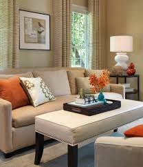 blue living pillows room sofa with beige and stock photo