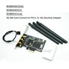 pc bureau wifi bcm94360csax bcm943602cs bcm94331csax carte wlan convertir à pci e
