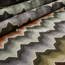 Colourful Upholstery Fabric Geometric Colourful Funky Chevron Pattern Fabric Vibrant Colours