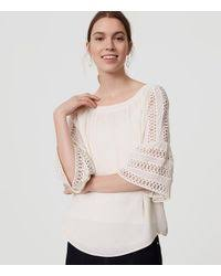 white bell sleeve blouse lyst loft lace bell sleeve blouse in white
