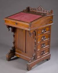 Small Writing Desk With Drawers 19th C Ebonized Leather Top Writing Desk Lot 3 Antique