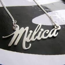 silver nameplate necklace nameplate necklace milka font